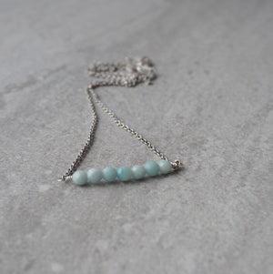 Delicate Gemstone Bar Necklace Amazonite by Wallis Designs
