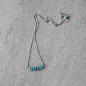 Blue Gemstone Necklace with Apatite and Sterling Silver