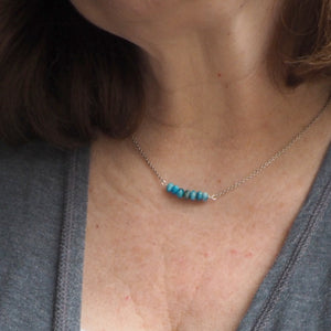 Blue Apatite Bar Necklace made in Canada by Wallis Designs