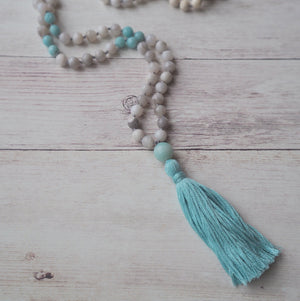 Mala Necklace 108 Bead Gemstones with Tassel