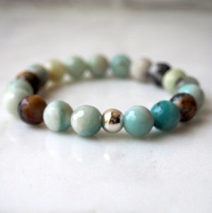 Gemstone Bracelet in Amazonite with Sterling Silver