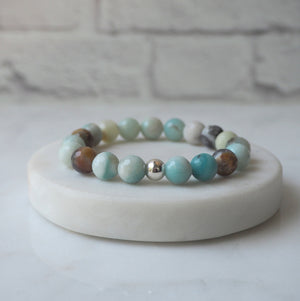 Black Gold Amazonite Gemstone Bracelet with Sterling Silver