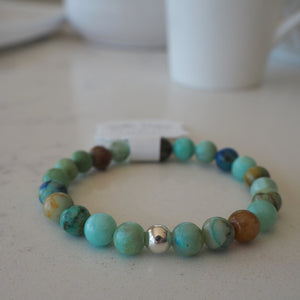 Gemstone stretch bracelet in turquoise by Wallis Designs