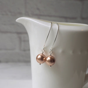 Rose Gold Swarovski Pearl Earrings by Nancy Wallis Designs