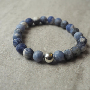 Blue and White Gemstone Bracelet by Wallis Designs