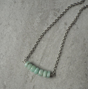 Gemstone Bar Necklace with Amazonite by Wallis Designs