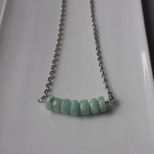 Amazonite Bar Necklace and Sterling Silver by Wallis Designs