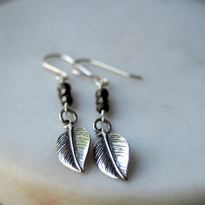 Boho chic leaf earrings. Long and Lean made in Canada.