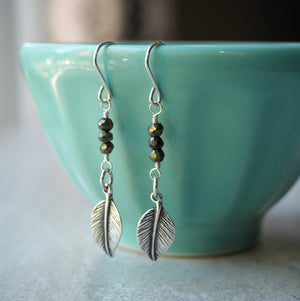 Boho Chic Leaf Earrings. Made in Canada by Nancy Wallis Designs
