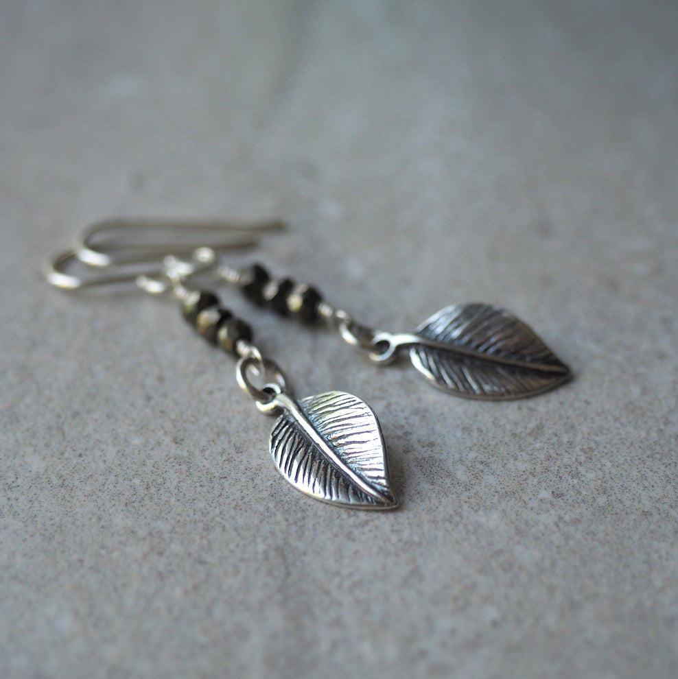 Sterling Silver and Pyrite earrings by Nancy Wallis Designs
