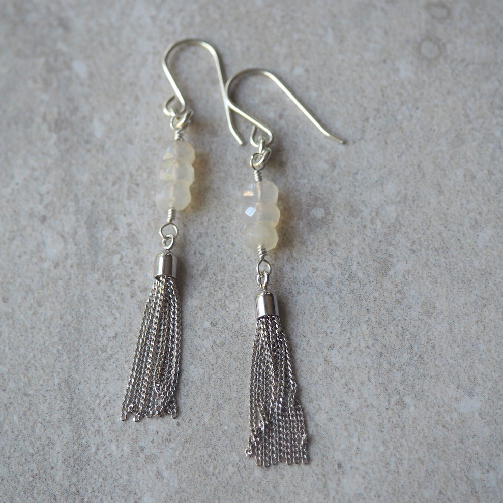 Long Gemstone Tassel Earrings