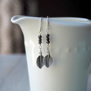Sterling Silver Earrings with Silver Leaf and Pyrite Gemstones