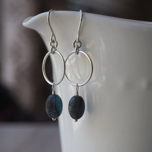 Silver Dangle Earrings with Blue Gemstones