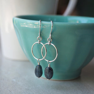 Gemstone Earrings in Silver with Blue Kyanite