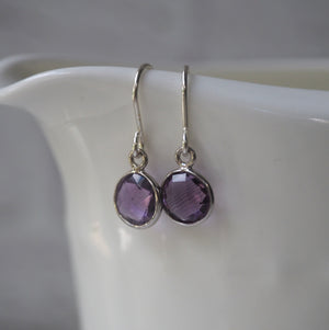 February birthstone amethyst earrings and sterling silver