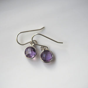 Purple amethyst earrings with sterling silver
