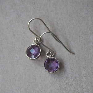 Dainty amethyst earrings by Nancy Wallis Designs