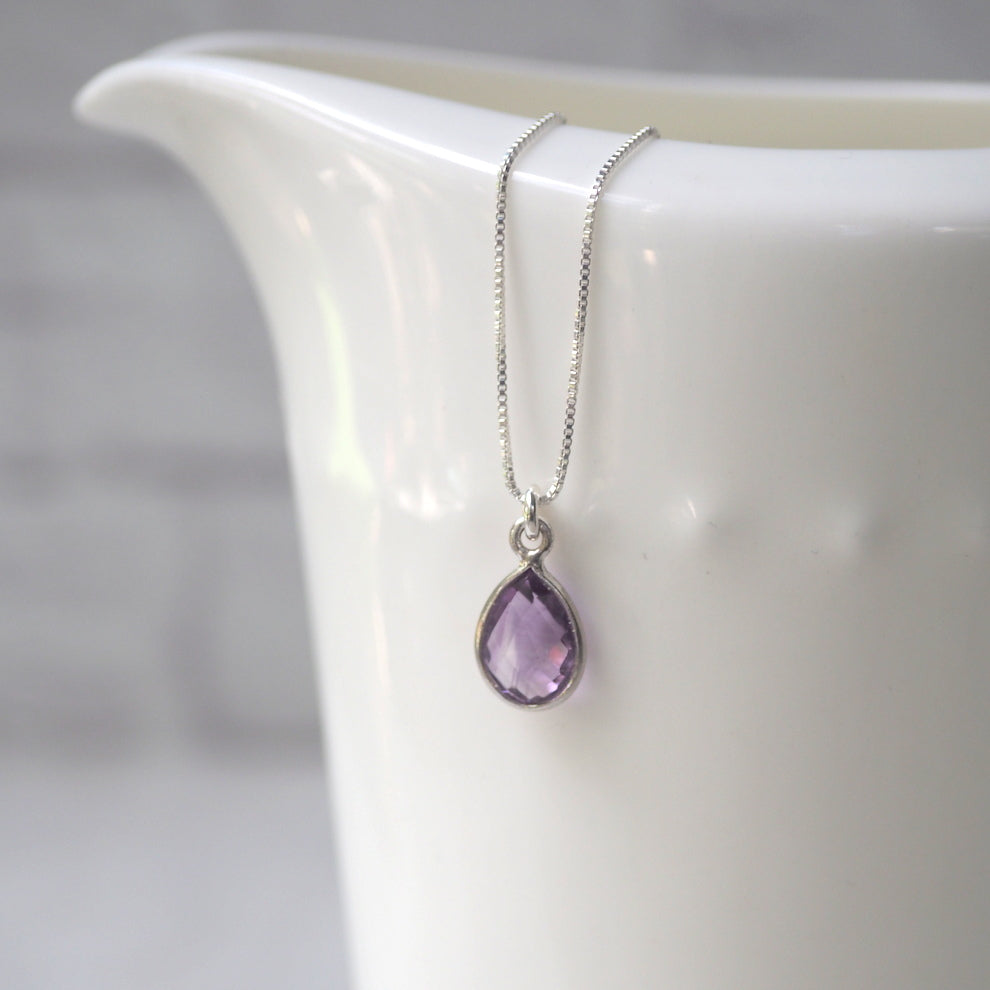 Amethyst Teardrop Silver Necklace