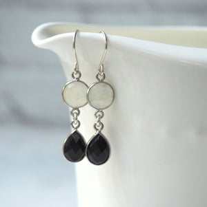 Elegant Black and White Gemstone Earrings Wallis Designs