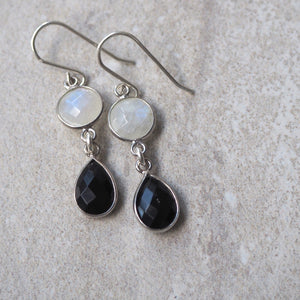 Gemstone Earrings in Silver with Onyx and Moonstone