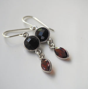 Onyx and Garnet Silver Earrings
