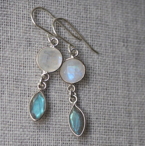 Gemstone Earrings Moonstone and Labradorite