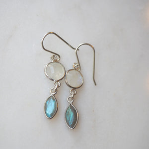 Moonstone and Labradorite Sterling Silver Earrings
