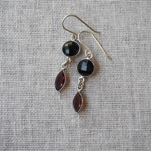 Garnet and Onyx Gemstone Earrings by Wallis Designs
