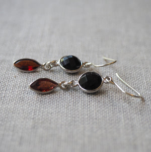 Black and Red Gemstone Earrings by Nancy Wallis Designs