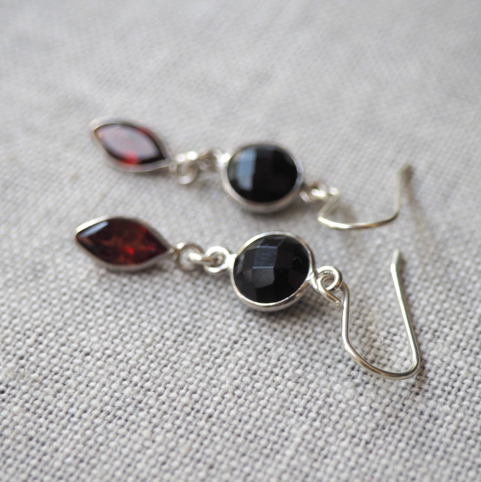 Onyx and Garnet Gemstone Earrings