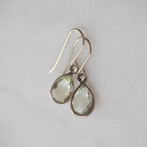 Green Amethyst Teardrop Earrings