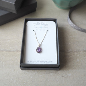 Amethyst Drop Sterling Silver Necklace by Wallis Designs
