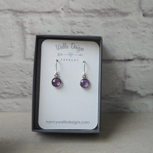 Short purple gemstone earrings with amethyst and silver