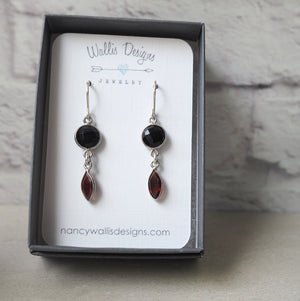 Onyx and Garnet Gemstone Earrings by Wallis Designs
