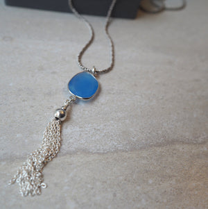 Blue Chalcedony Pendant on Long Silver Chain