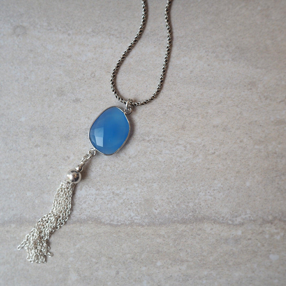 Blue Chalcedony Gemstone Long Necklace and Tassel