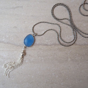 Oxidized Sterling Silver Long Chain with Blue Chalcedony
