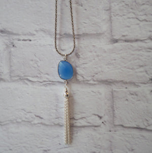 Gemstone and Tassel Pendant on Long Silver Chain