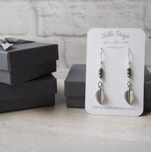 Oxidized Sterling Silver Leaf and pyrite earrings