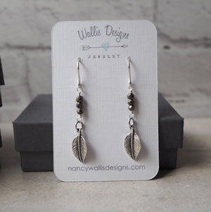 Boho chic Sterling Silver and Pyrite earrings