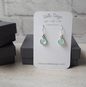 Gemstone Earrings in Aqua Chalcedony by Wallis Designs