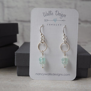 Gemstone Earrings with Aqua Chalcedony and Moonstone
