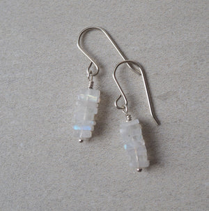 Silver Gemstone Earrings with Moonstone by Wallis Designs