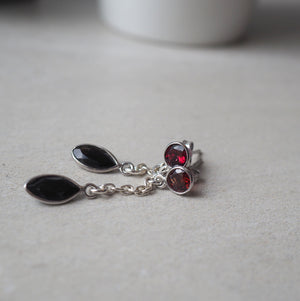 Black Onyx and Garnet Stud Earrings