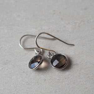 Silver Gemstone Earrings in Smokey Quartz