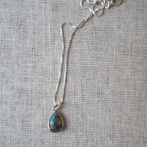 Silver Gemstone Necklace with Labradorite Charm