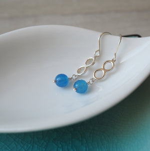 Blue Agate Gemstone Earrings in Sterling Silver