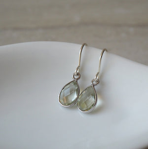 Green Amethyst Gemstone Earrings by Wallis Designs