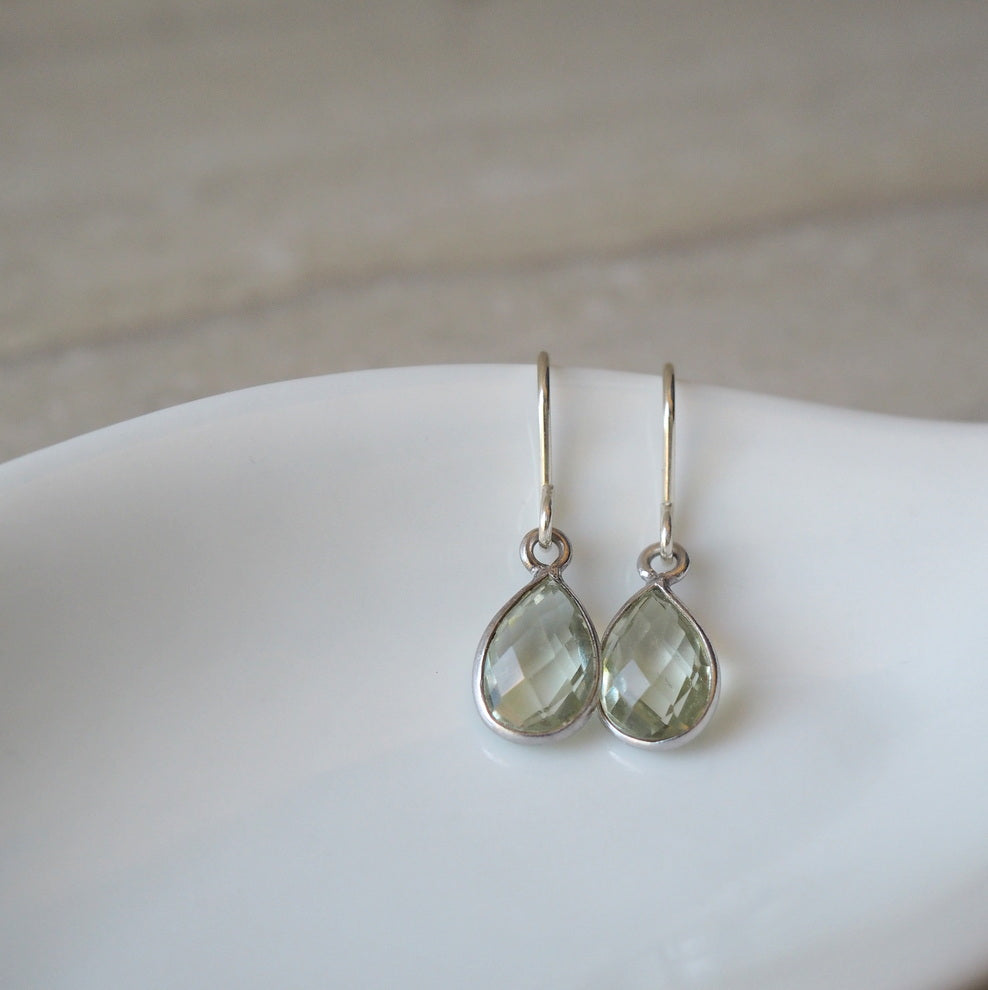 Green Amethyst Gemstone Earrings by Nancy Wallis Designs