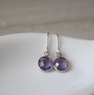 Dainty purple amethyst earrings by Nancy Wallis Designs